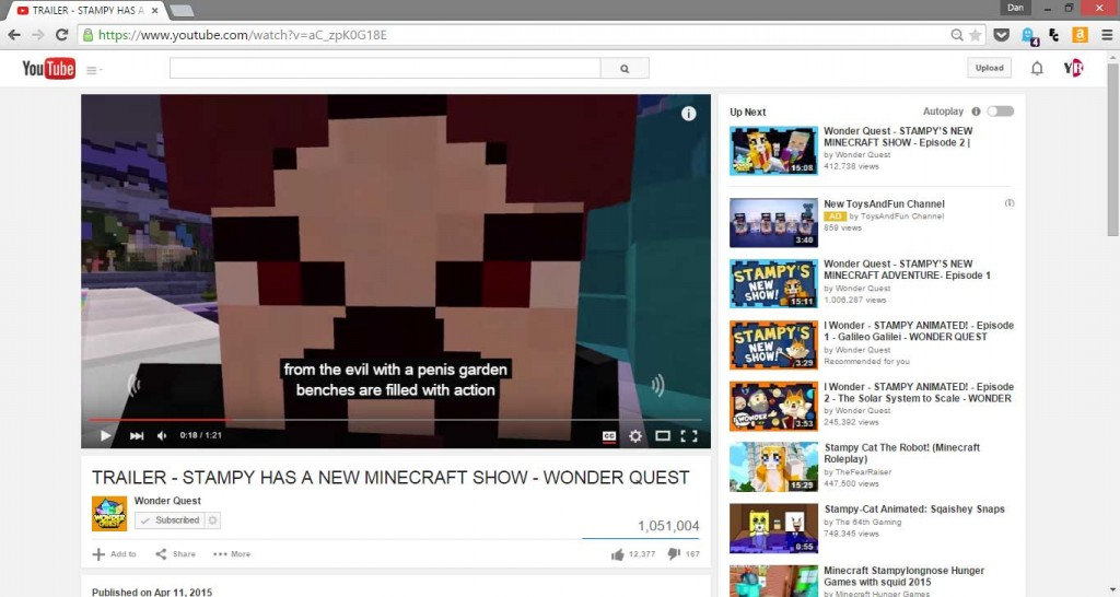 Wonder Quest Fail- Stampy Penis Garden on Traiiler