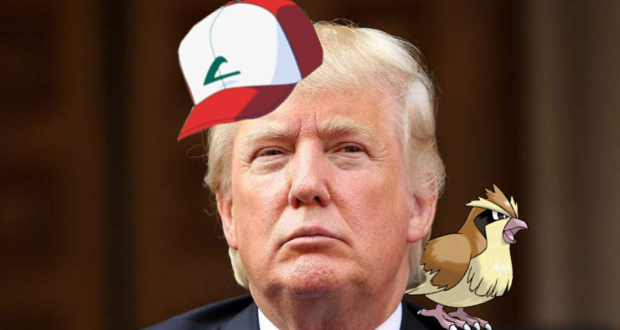 Donald Trump with a Pidgey and Pokemon hat.